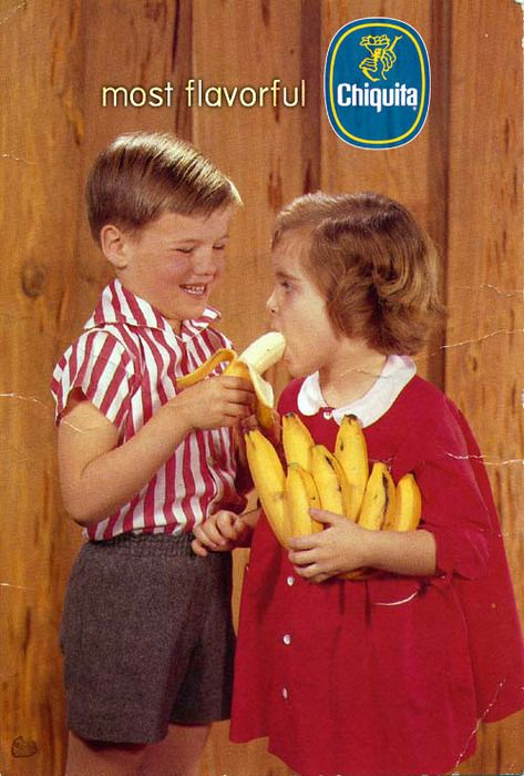 chiquita banana boy and girl with girl swallowing banana inappropriate vintage ad