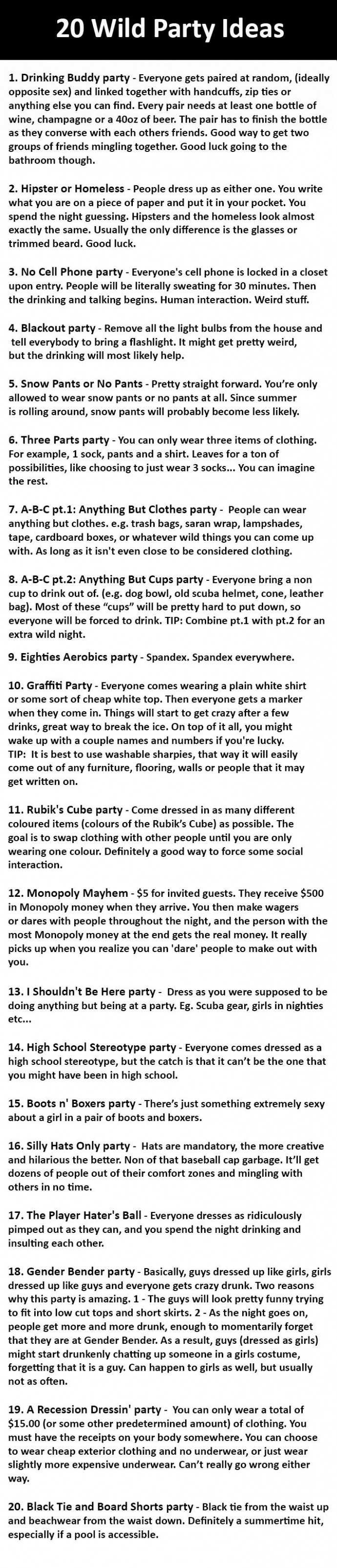 20 wild party ideas list