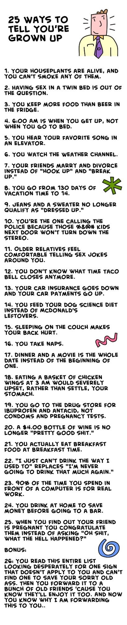 25 ways to tell you are grown up list