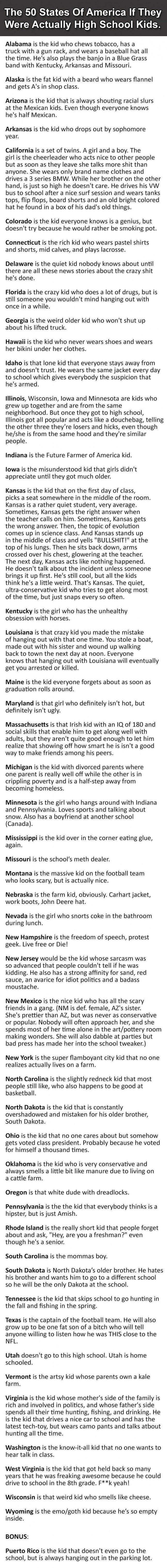 50 States of America If They Were Actually High School Kids List