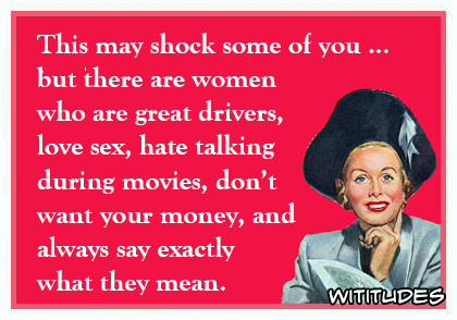 This may shock some of you but there are women who are great drivers love sex hate talking during movies dont want your money and always say exactly what they mean ecard