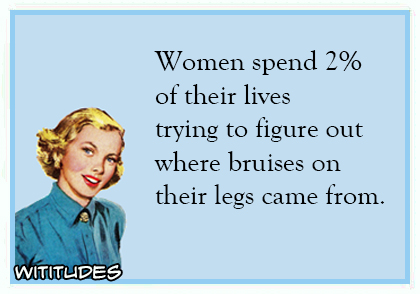 Women spend 2 percent of their lives trying figure out where bruises on their legs came from ecard