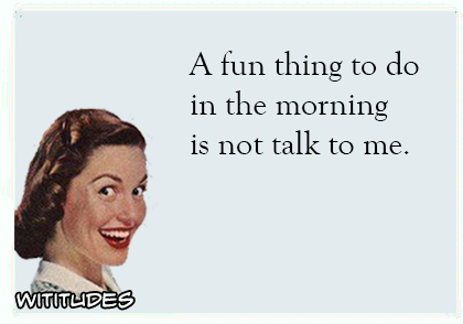 a fun thing to do in the morning is not talk to me ecard