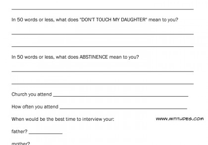 Application for permission to date my daughter form