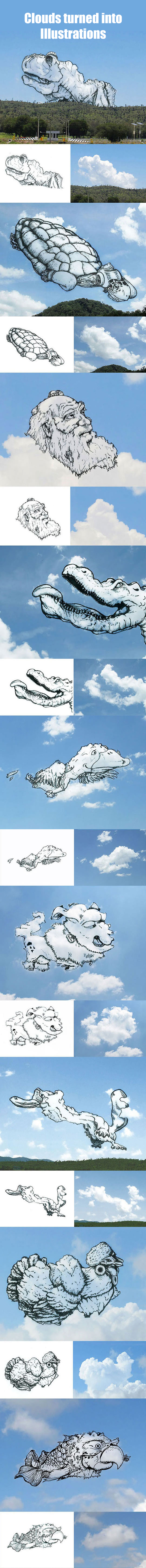 Clouds turned into illustrations