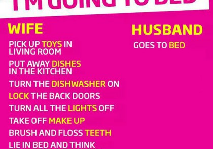 I'm going to bed - wife vs. husband