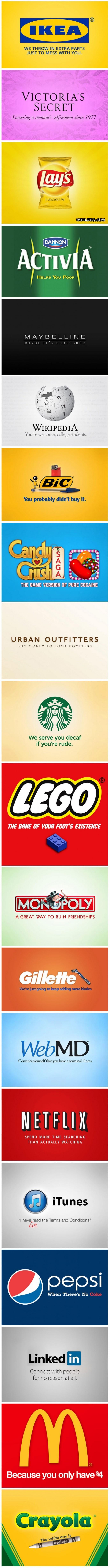 Honest Slogans - including Ikea, Lego