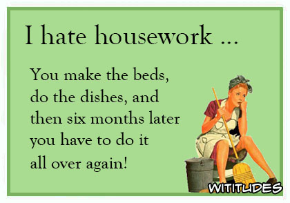 I hate housework make the beds do the dishes and then six months later have to do it all over again ecard