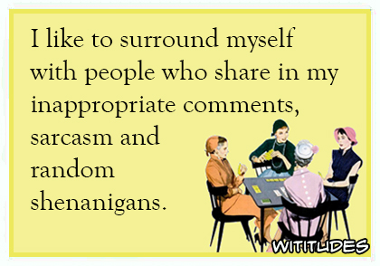 i like to surround myself with people who share in my inappropriate comments sarcasm and random shenanigans ecard