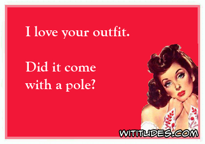 I love your outfit. Did it come with a pole? ecard