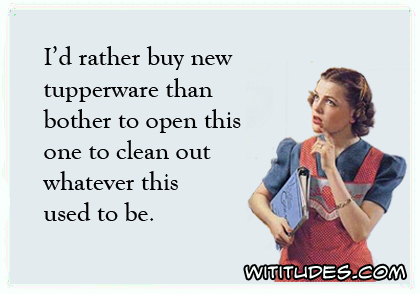 I'd rather buy new tupperware then bother to open this one to clean out whatever this used to be ecard
