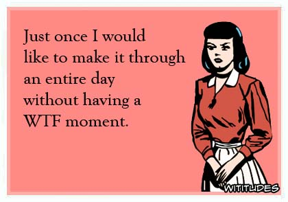 Just once I would like to make it through an entire day without having a WTF moment ecard