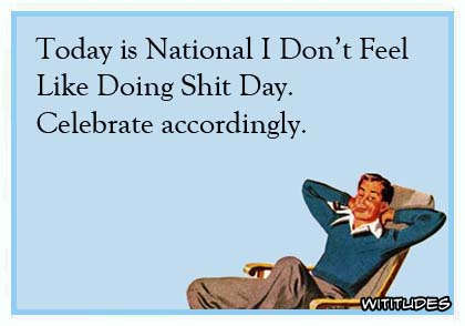 Today is National I don't Feel Like Doing Shit Day. Celebrate accordingly ecard