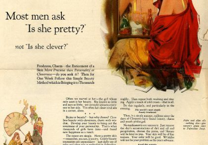 palmolive women looking in mirror men ask is she pretty not is she clever vintage ad