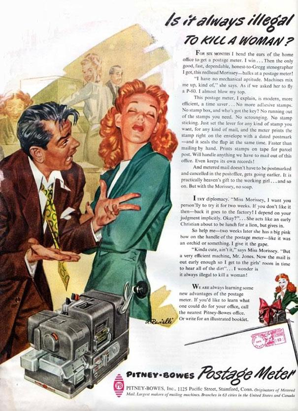pitney bowes postage meter is it always illegal to kill a woman vintage ad