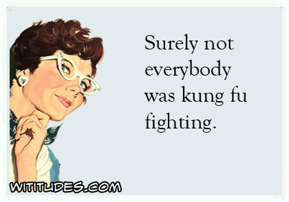 Surely not everybody was kung fu fighting ecard