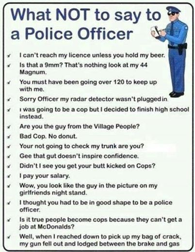 What Not To Do When Getting Your Makeup Done: What Not To Say To A Police Officer List