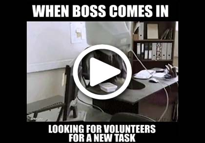 When boss comes in looking for volunteers for a new task