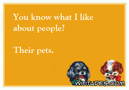 You know what I like about people? Their pets ecard