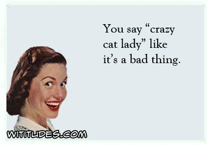 You say 'crazy cat lady' like it's a bad thing ecard